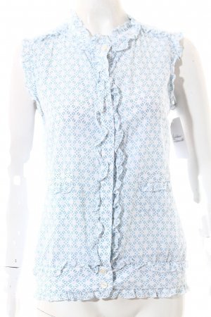 en soie Zürich Kurzarm-Bluse weiß-hellblau Casual-Look