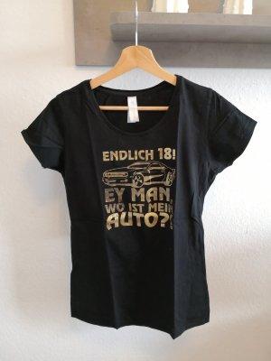 Endlich 18 T-Shirt S 36 schwarz Gold Damen