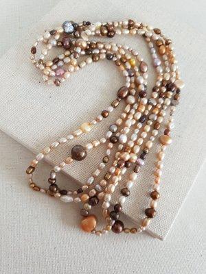 Collier de perles beige clair-doré