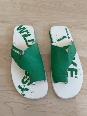 Energie Sandalo toe-post bianco-verde bosco