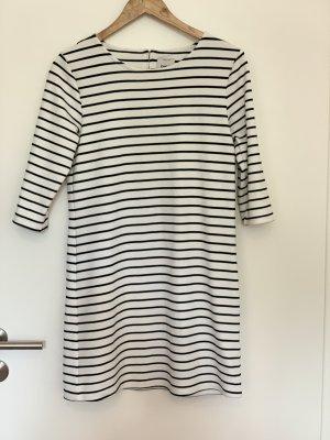 Only Vestido de manga larga blanco-negro tejido mezclado
