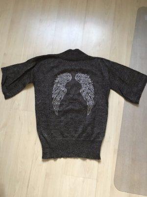 Alba Moda Cienki sweter z dzianiny szaro-brązowy