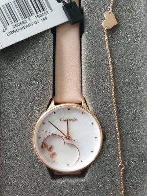 Engelsrufer Montre avec bracelet en cuir blanc-or rose