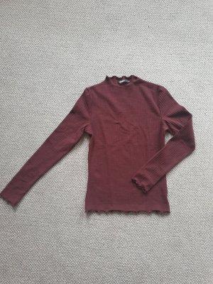 Only Camisa acanalada rojo amarronado
