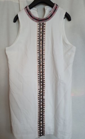 English Factory Sommer Kleid Ethno Boho ärmellos weiß creme Perlen Stickerei Stehkragen