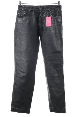 Enjoy Pantalon en cuir noir style décontracté