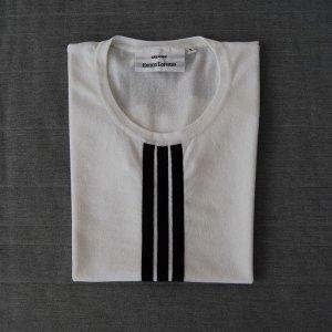 Blusa sin espalda blanco-negro tejido mezclado