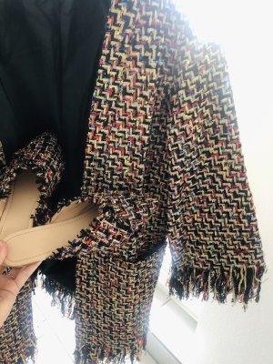 Ensemble Fashionista Set Zweiteiler Kimono Mantel & Mules Schuhe schwarz gold rot bunt boucle tweed