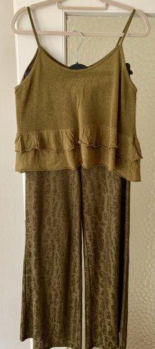Zara Marlene Dietrich broek groen-grijs-goud