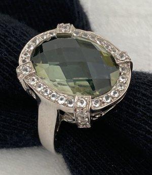 Entourage-Ring 925 Silber Jaspin Weißtopase Gr. 20 (62) neuwertig