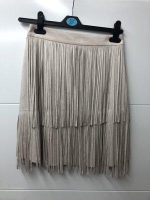 Zara Spódnica z imitacji skóry kremowy-w kolorze białej wełny Poliester
