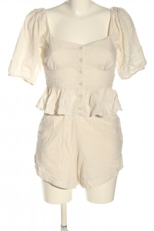 Envii Woven Twin Set cream-white check pattern casual look