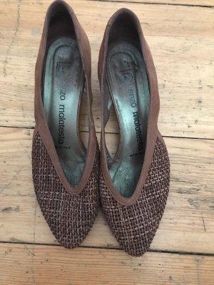 Sandalias tipo cuña marrón-marrón claro
