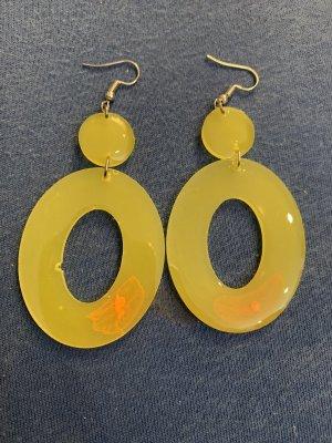 Handmade Zdobione kolczyki żółty neonowy-łosowiowy