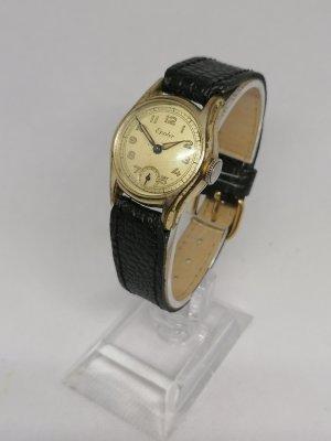 Vintage Chic Zegarek ze skórzanym paskiem czarny-złoto