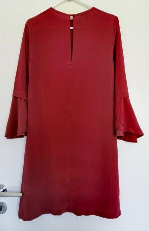 Equipment Damen Rot Seide Kleid weit schwingendem Ärmel Rundhalsausschnitt Gr.34 XS