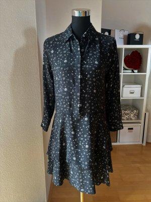Equipment Kleid Seidenkleid schwarz weiß schwarzgrau Sterne Seide