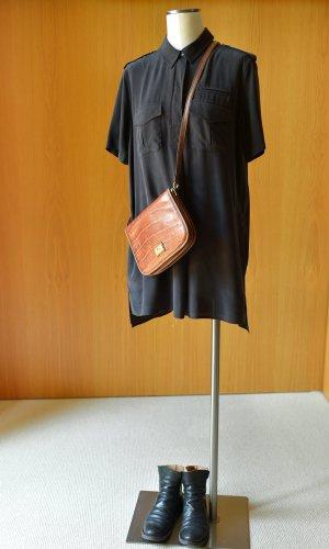 EQUIPMENT S/36 Seidenkleid Minikleid Hemdkleid Schwarz Seide Business