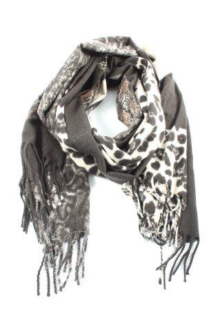 Er Piu Écharpe à franges noir-blanc motif léopard élégant