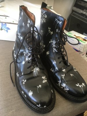 Erdem Lace-up Booties black-white leather