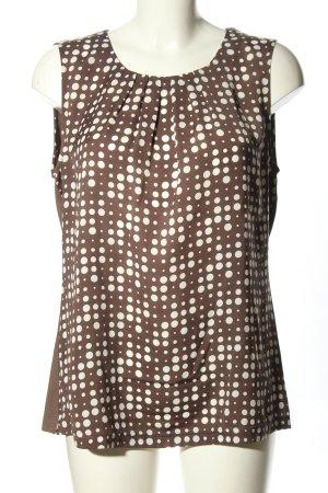 Erfo ärmellose Bluse braun-weiß Punktemuster Casual-Look