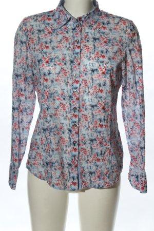 Erfo Hemd-Bluse blau-rot Blumenmuster Business-Look