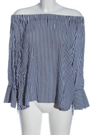 Erfo Schlupf-Bluse weiß-blau Streifenmuster Casual-Look