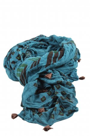 Erfurt Fringed Scarf blue graphic pattern casual look