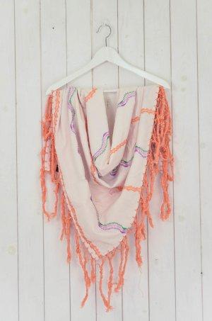 ERFURT LUXURY Tuch Schal Baumwolle Weiß Orange Pink Lila Grün Fransen Bestickt