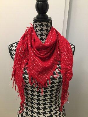 Erfurt Tuch Halstuch Schal rot mit fäden Dreieckstuch