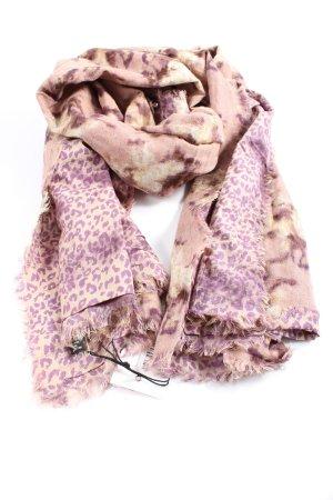 Erfurt Bufanda de lana crema-lila estampado con diseño abstracto look casual