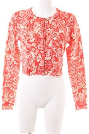 Eric Bompard Cardigan rouge-crème imprimé allover style décontracté