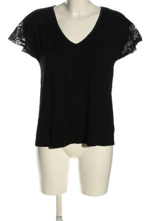 erlich textil V-hals shirt zwart casual uitstraling