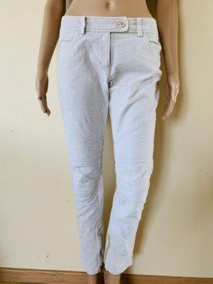 Ermanno Scervino Pantalon en velours côtelé gris clair-blanc cassé