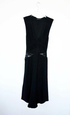Ermanno Scervino Vestido de lana negro tejido mezclado