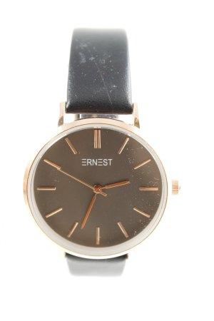 Horloge met lederen riempje zwart-goud casual uitstraling