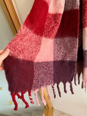 Ernstings Family Schal Tuch Warm Weich Lang Lila Rot Pink Quadrate Muster Neu
