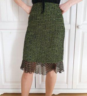 Escada 36 S kariert High Waist Rock Midirock Bürorock Bleistiftrock Kostüm Skirt Officerock Seide Anzug Kleid Bluse