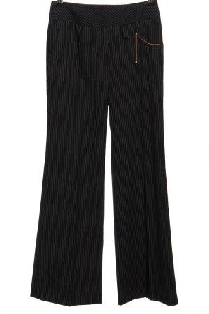 Escada Baggy Pants schwarz-wollweiß Streifenmuster Casual-Look