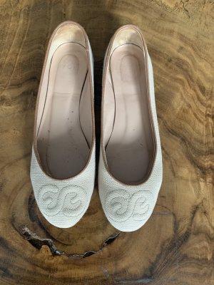 Escada Bailarinas con tacón Mary Jane beige-marrón claro Cuero