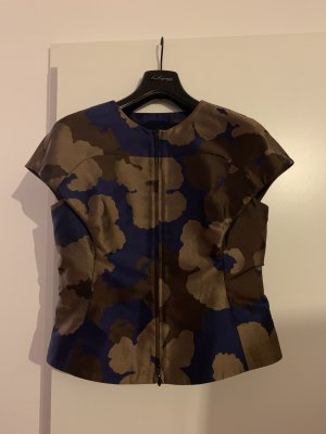 Escada Bluse, kurzer Arm, Gr. 36/38, Camouflage, Seide