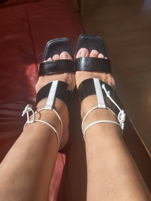 Escada Sandalo Dianette bianco-nero