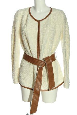 Escada Veste en tricot blanc-brun style décontracté