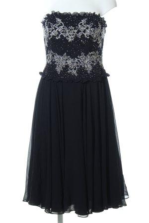 Escada Vestido corsage negro-color plata Seda