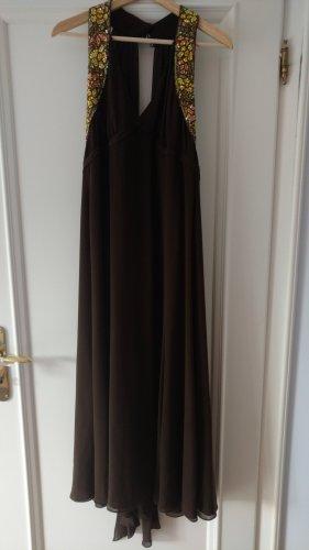 ESCADA Designer Kleid Seide braun mit eleganten Steinen, Gr 36.