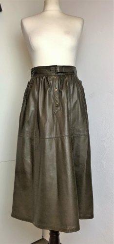* ESCADA * ECHT LEDER ROCK Midi High waist oliv grün 38 M-  VINTAGE  & Top Zustand -