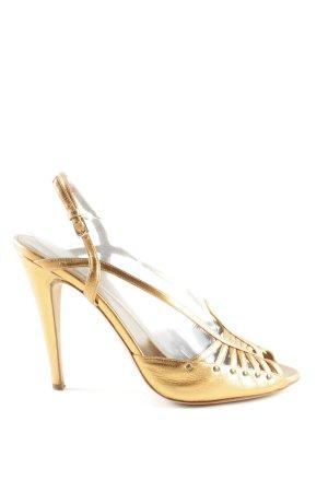 Escada High Heel Sandaletten goldfarben Business-Look