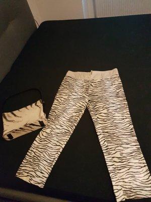 Escada Pantalon en lin noir-crème