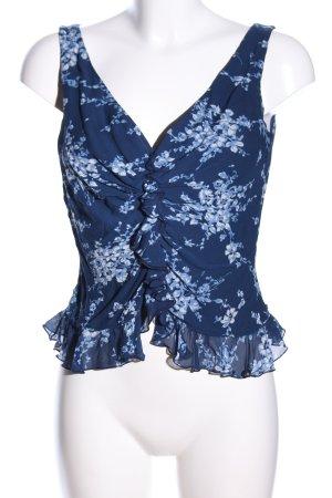 Escada Kurzarm-Bluse blau-weiß Blumenmuster Casual-Look