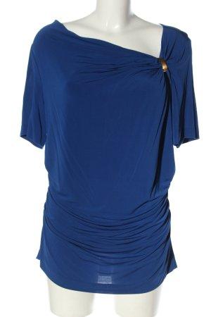 Escada Kurzarm-Bluse blau-goldfarben Casual-Look